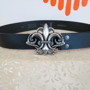 Levi's Fleur De Lis black leather belt